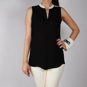 JEUNESSE Black White Silk Sleeveless Top Blouse